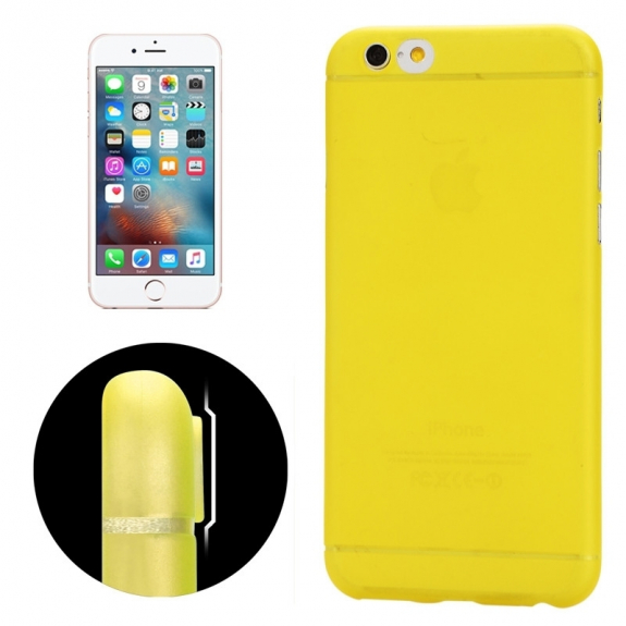 Ultra tenký plastový kryt pro iPhone 6 / 6S - s ochranou zadní kamery - žlutý