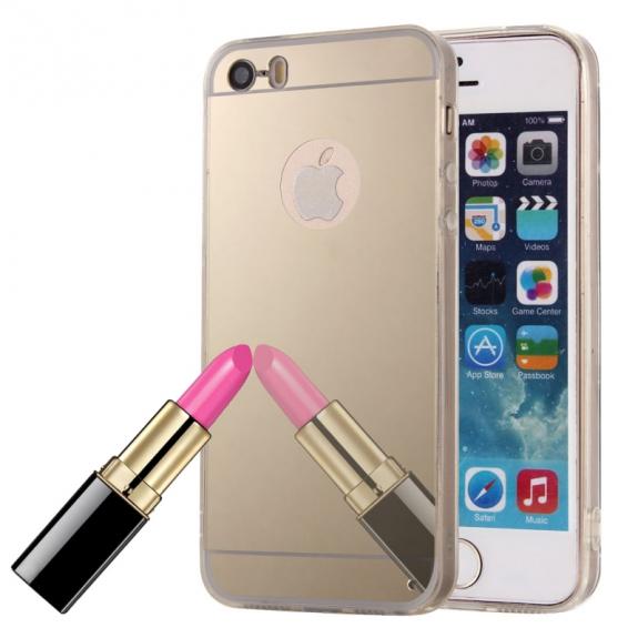 AppleKing zrcadlový ochranný kryt pro iPhone 5 / 5S / SE – zlatý - možnost vrátit zboží ZDARMA do 30ti dní