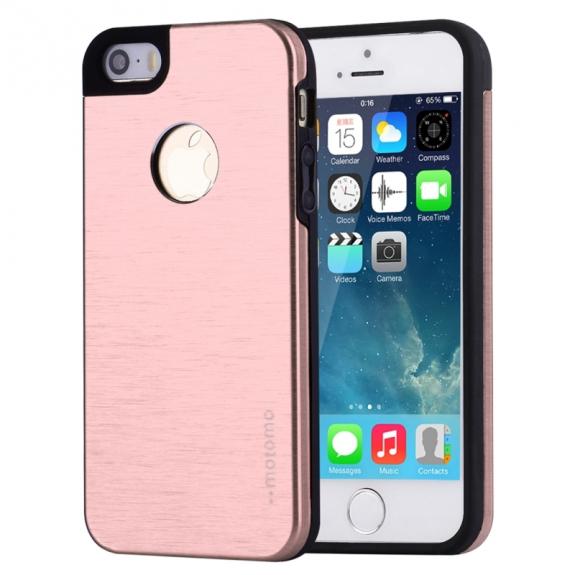 AppleKing mOTOMO kovový ochranný zadní kryt pro Apple iPhone 5 / 5S / SE – růžově zlatý (Rose Gold) - možnost vrátit zboží ZDARMA do 30ti dní