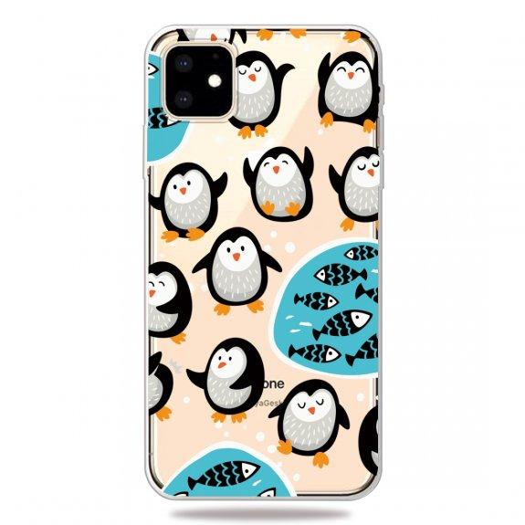 AppleKing měkký 3D transparentní kryt pro iPhone 11 - tučňáci na rybách - možnost vrátit zboží ZDARMA do 30ti dní
