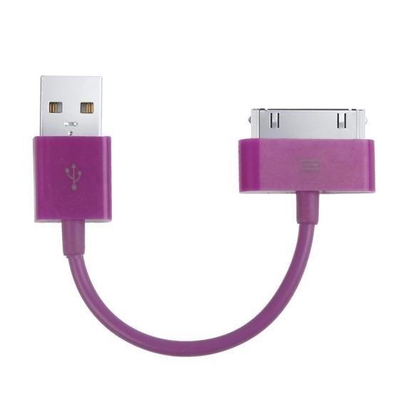 Krátký nabíjecí a synchronizační 30pin kabel pro iPhone / iPod / iPad - 12cm - fialový