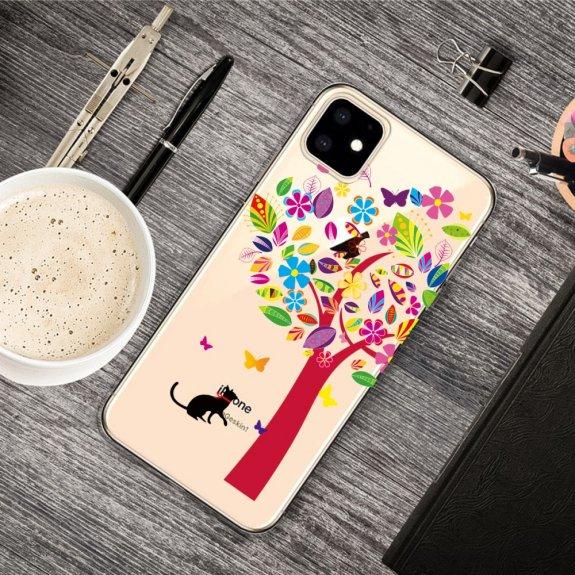 AppleKing měkký transparentní kryt pro iPhone 11 - pestrý strom a kočka - možnost vrátit zboží ZDARMA do 30ti dní