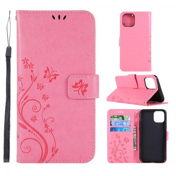 AppleKing flipové pouzdro s reliéfem motýla a květiny pro iPhone 11 - růžové - možnost vrátit zboží ZDARMA do 30ti dní