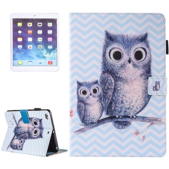 AppleKing pouzdro s prostorem pro karty, bankovky a tužku pro Apple iPad Air 2 / Air - sova - možnost vrátit zboží ZDARMA do 30ti dní
