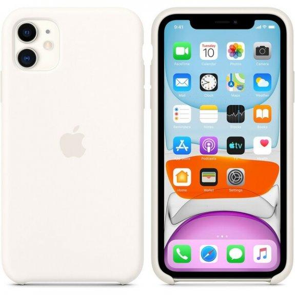 Originální Apple silikonový kryt pro iPhone 11 - bílý MWVX2ZM/A - možnost vrátit zboží ZDARMA do 30ti dní