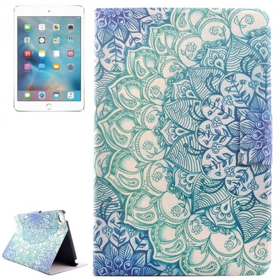 Pouzdro / kryt s integorovaným stojánkem pro iPad mini 4 - květinová kresba