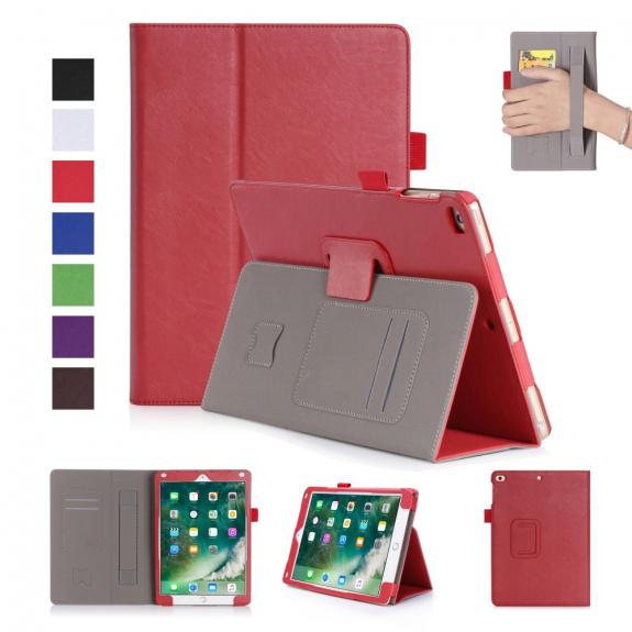 AppleKing kožené Smart pouzdro s funkcí uspání, prostorem pro karty a řemínkem na ruku pro Apple iPa