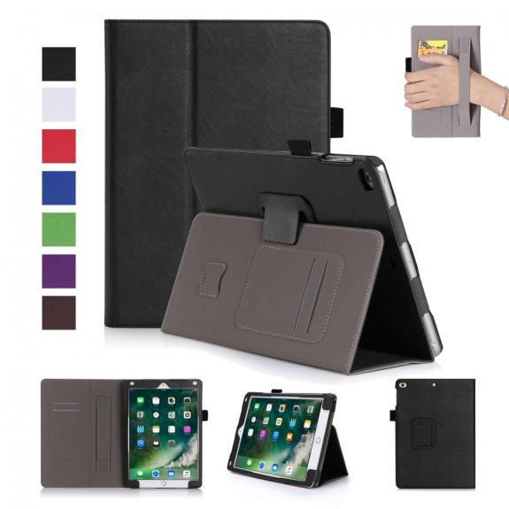 """AppleKing kožené Smart pouzdro s funkcí uspání, prostorem pro karty a řemínkem na ruku pro Apple iPad 9.7"""" - černé - možnost vrátit zboží ZDARMA do 30ti dní"""