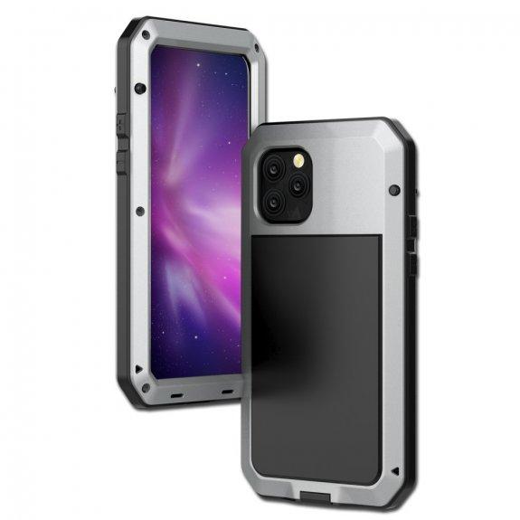 AppleKing super odolné pouzdro z kovu, silikonu a tvrzeného skla pro iPhone 11 Pro - stříbrné - možnost vrátit zboží ZDARMA do 30ti dní