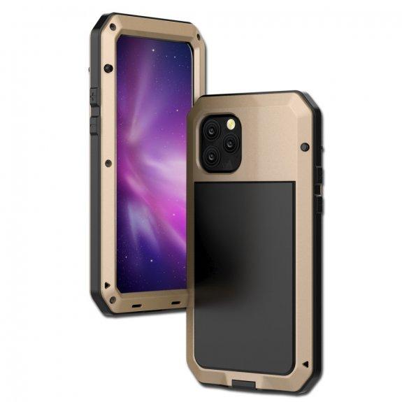 AppleKing super odolné pouzdro z kovu, silikonu a tvrzeného skla pro iPhone 11 Pro - zlaté - možnost vrátit zboží ZDARMA do 30ti dní