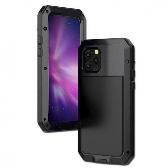 AppleKing super odolné pouzdro z kovu, silikonu a tvrzeného skla pro iPhone 11 Pro Max - černé - možnost vrátit zboží ZDARMA do 30ti dní