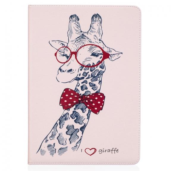 """AppleKing pouzdro / kryt se stojánkem a kapsou pro doklady nebo dokumenty pro Apple iPad Air 3 (2019) / iPad Pro 10,5"""" - žirafa s brýlemi - možnost vrátit zboží ZDARMA do 30ti dní"""