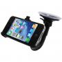 Polohovatelný držák na čelní sklo nebo palubní desku automobilu s přísavkou pro iPhone 4 / 4S - černý