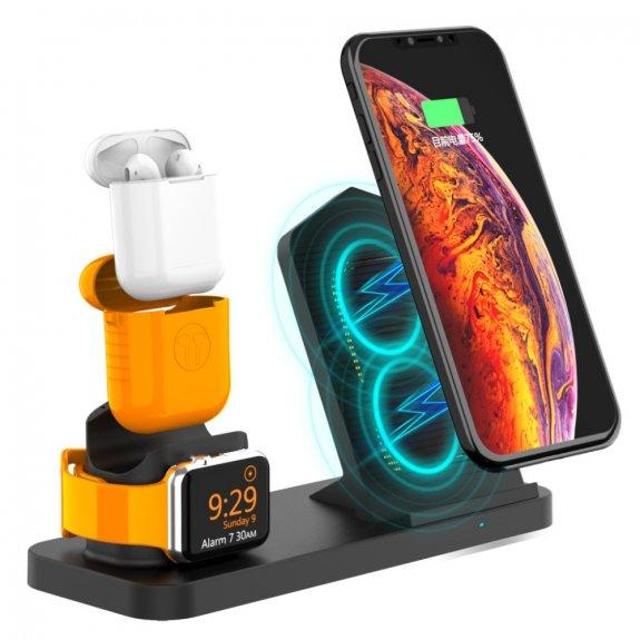 AppleKing rychlonabíjecí stojánek 3v1 pro bezdrátové nabíjení iPhone / Apple Watch / AirPods - černý - možnost vrátit zboží ZDARMA do 30ti dní
