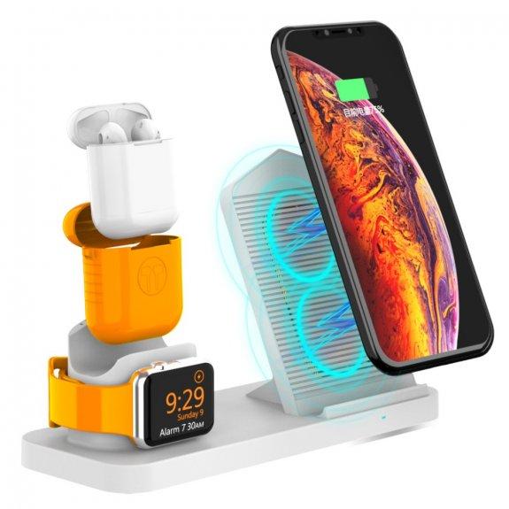AppleKing rychlonabíjecí stojánek 3v1 pro bezdrátové nabíjení iPhone / Apple Watch / AirPods - bílý - možnost vrátit zboží ZDARMA do 30ti dní