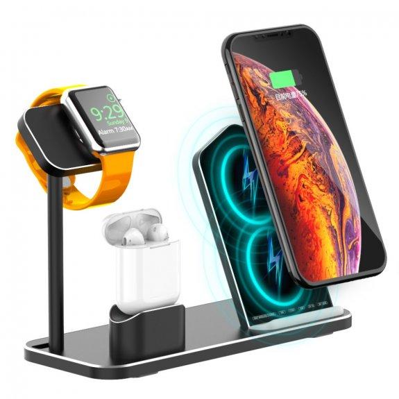 AppleKing rychlý nabíjecí 3v1 stojánek pro bezdrátové nabíjení iPhone / Apple Watch / AirPods - možnost vrátit zboží ZDARMA do 30ti dní