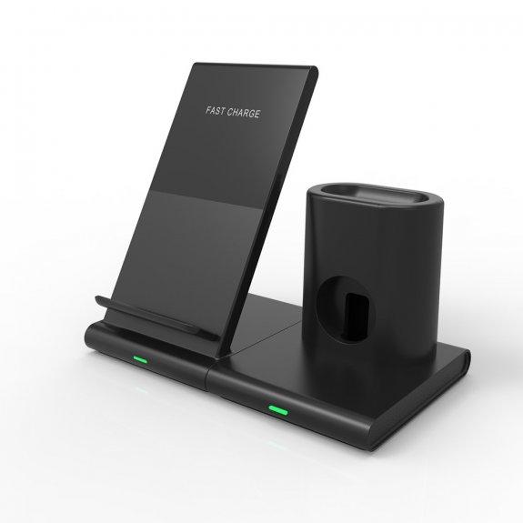 AppleKing rozpojitelný stojánek 3v1 s bezdrátovým nabíjením pro iPhone / Apple Watch / AirPods - černý - možnost vrátit zboží ZDARMA do 30ti dní