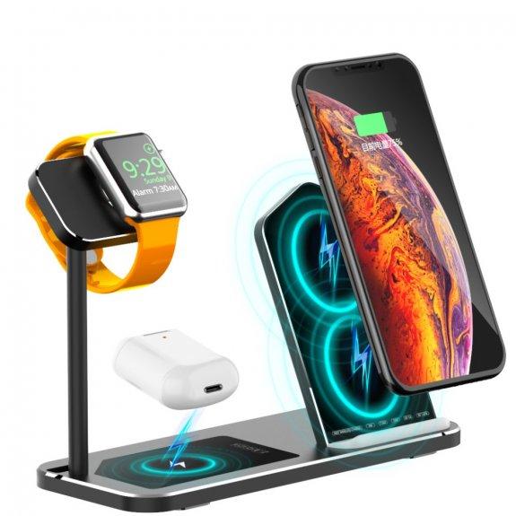 AppleKing bezdrátová hliníková nabíjecí stanice pro iPhone / Apple Watch / AirPods - černá - možnost vrátit zboží ZDARMA do 30ti dní