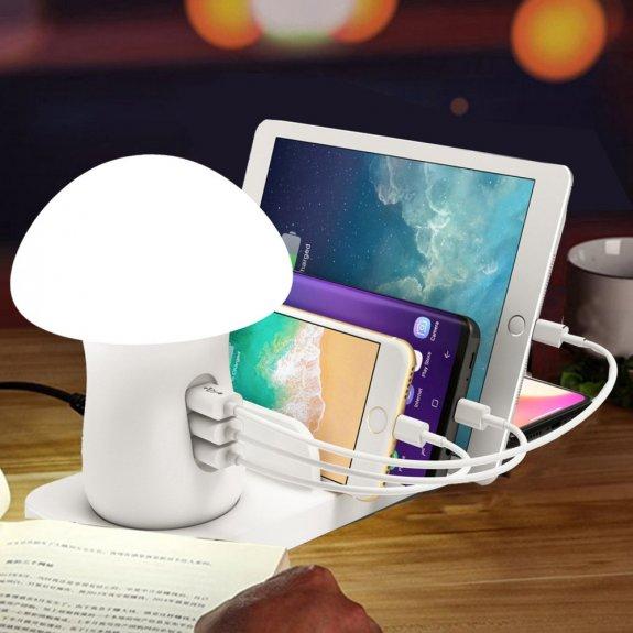 AppleKing lampička / multi dokovací stanice s možností bezdrátového i kabelového nabíjení iPhone / iPad - bílá - možnost vrátit zboží ZDARMA do 30ti dní