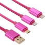 Opletený synchronizační a nabíjecí kabel 3v1 s 2x Lightning + micro USB konektor - 1m - růžový