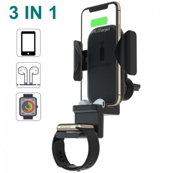 AppleKing 3v1 bezdrátový nabíjecí stojánek do auta na ventilační mřížku 10W pro iPhone / Apple Watch / AirPods - černý - možnost vrátit zboží ZDARMA do 30ti dní