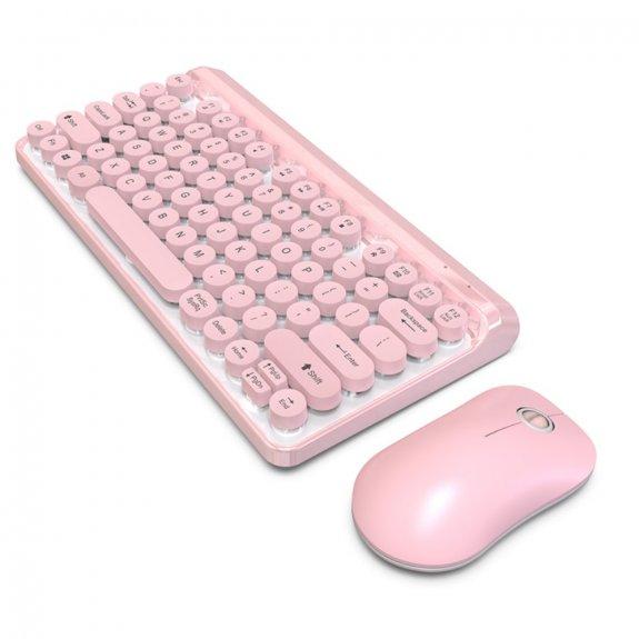 AppleKing sada multimediální bezdrátové klávesnice s myší - růžová - možnost vrátit zboží ZDARMA do 30ti dní