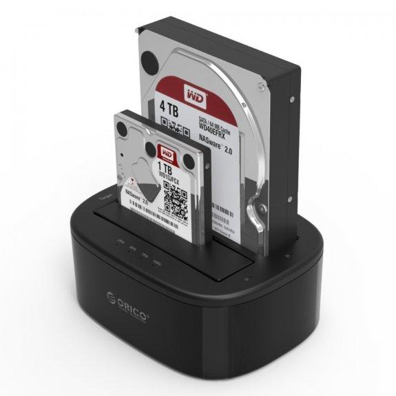 """Orico duální dokovací stanice pro SATA pevné disky 2,5"""" / 3,5"""" s offline klonováním disků - rozhraní USB 3.0 - možnost vrátit zboží ZDARMA do 30ti dní"""