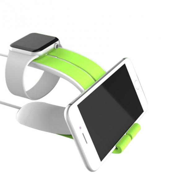 AppleKing designový stojánek 2v1 na Apple Watch a iPhone nebo iPad - zelený - možnost vrátit zboží ZDARMA do 30ti dní