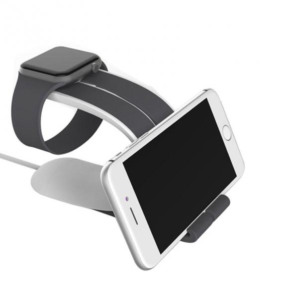 AppleKing designový stojánek 2v1 na Apple Watch a iPhone nebo iPad - šedý - možnost vrátit zboží ZDARMA do 30ti dní