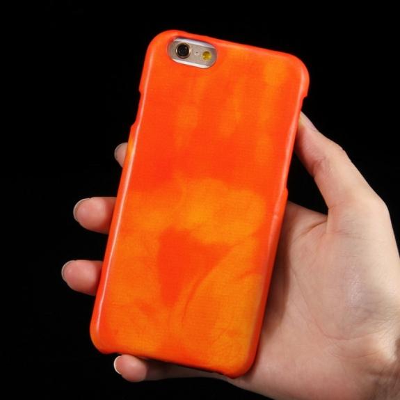 AppleKing tepelně citlivý termo kryt se zachováním otisku vaší ruky na iPhone 6S / 6 - žlutý - možnost vrátit zboží ZDARMA do 30ti dní