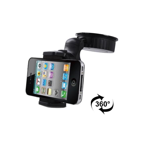 AppleKing univerzální otočný držák na čelní sklo nebo palubní desku automobilu s přísavkou pro iPhone 4 / 4S / 3GS / 3G - šířka 42mm až 62mm - černý - možnost vrátit zboží ZDARMA do 30ti dní