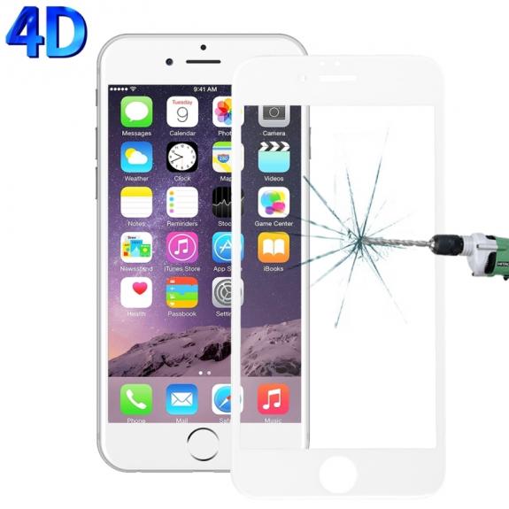 AppleKing 4D tvrzené sklo 9H (Tempered Glass) na iPhone 6 Plus / 6S Plus - 0.26 mm - bílé - možnost vrátit zboží ZDARMA do 30ti dní