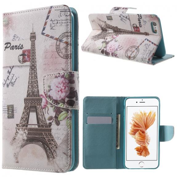 AppleKing otevírací obal / pouzdro na iPhone 6S / 6 - Eiffelovka s květinou - možnost vrátit zboží ZDARMA do 30ti dní