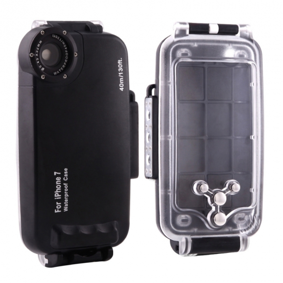 HAWEEL vodotěsné pouzdro do hloubky 40m pro iPhone 8 / 7 - černé - možnost vrátit zboží ZDARMA do 30ti dní