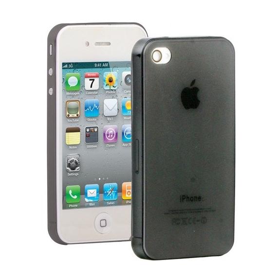 Ultra tenký (0.3mm) poloprůhledný matný kryt pro iPhone 4 / 4S - černý