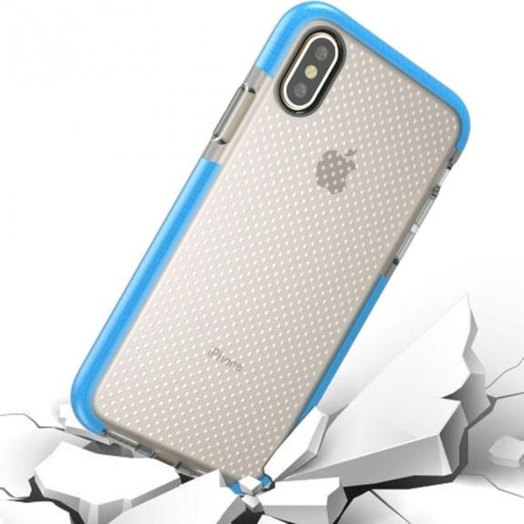 AppleKing kryt na iPhone XS / iPhone X se zesíleným rámečkem a ochranou proti pádu - modrý - možnost vrátit zboží ZDARMA do 30ti dní