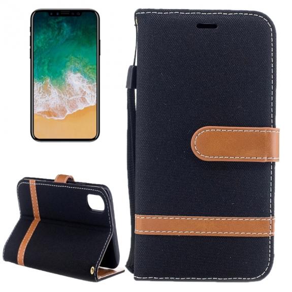 AppleKing luxusní denim / riflový obal na iPhone X s prostorem na doklady a karty - černý - možnost vrátit zboží ZDARMA do 30ti dní