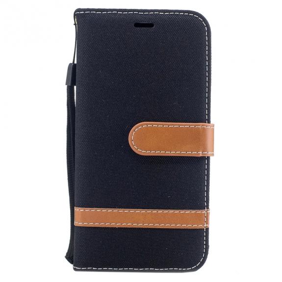 AppleKing luxusní denim / riflový obal na iPhone XS / iPhone X s prostorem na doklady a karty - černý - možnost vrátit zboží ZDARMA do 30ti dní