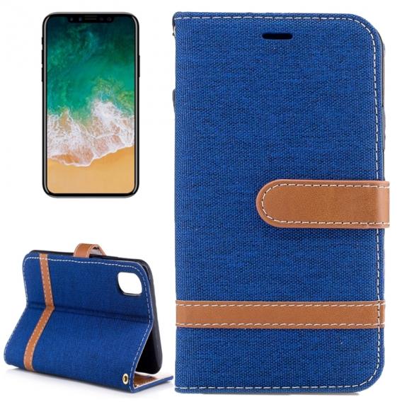AppleKing luxusní denim / riflový obal na iPhone X s prostorem na doklady a karty - tmavě modrý - možnost vrátit zboží ZDARMA do 30ti dní