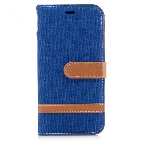 AppleKing luxusní denim / riflový obal na iPhone XS / iPhone X s prostorem na doklady a karty - tmavě modrý - možnost vrátit zboží ZDARMA do 30ti dní
