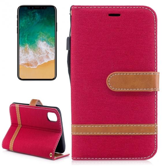 AppleKing luxusní denim / riflový obal na iPhone X s prostorem na doklady a karty - červený - možnost vrátit zboží ZDARMA do 30ti dní