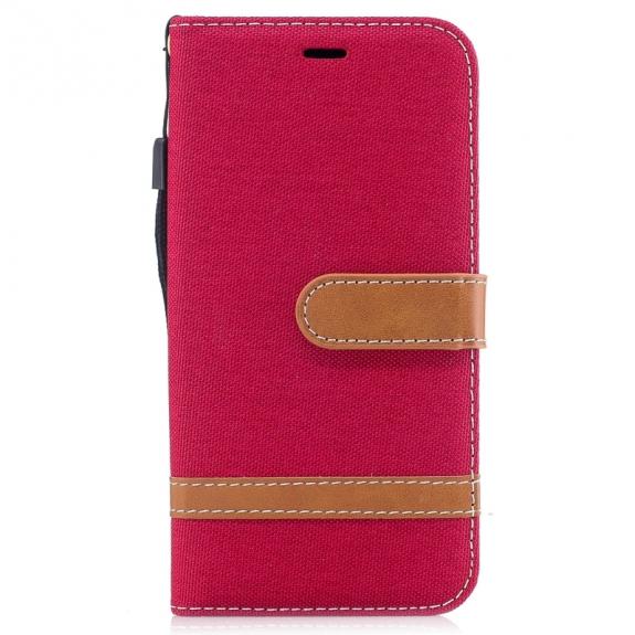 AppleKing luxusní denim / riflový obal na iPhone XS / iPhone X s prostorem na doklady a karty - červený - možnost vrátit zboží ZDARMA do 30ti dní