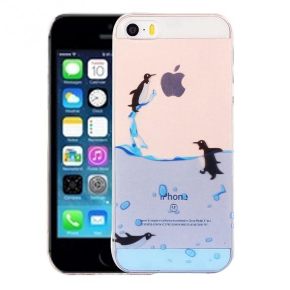 AppleKing kryt na iPhone 5 / 5S / SE - výtvarné zpracování - tučnáci - možnost vrátit zboží ZDARMA do 30ti dní