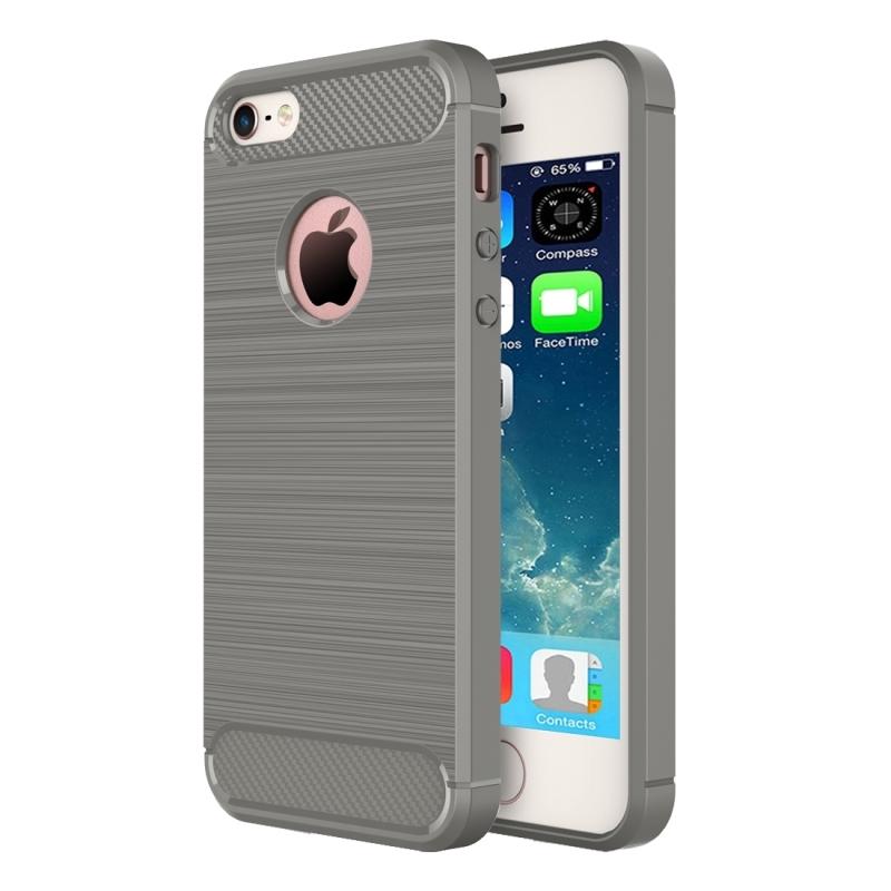 Robustní kryt na iPhone 5   5S   SE s broušenou texturou - šedý ... b772fd11dee