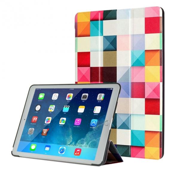"""AppleKing pouzdro / kryt s integrovaným stojánkem pro iPad Pro 9,7"""" - barevné čtverce - možnost vrátit zboží ZDARMA do 30ti dní"""