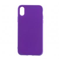 Leský gumový kryt na iPhone X - tmavě fialový