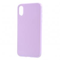 Leský gumový kryt na iPhone X - světle fialový