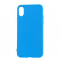 Leský gumový kryt na iPhone X - tmavě modrý