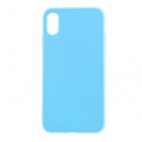 Leský gumový kryt na iPhone X - světle modrý