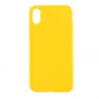 Leský gumový kryt na iPhone X - žlutý
